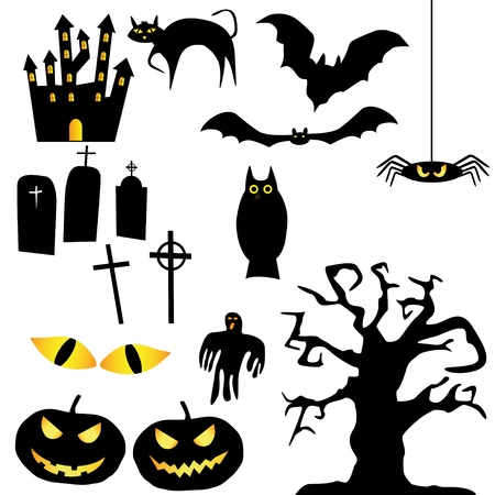 collection of Halloween silhouettes Stock Vector - 15543494