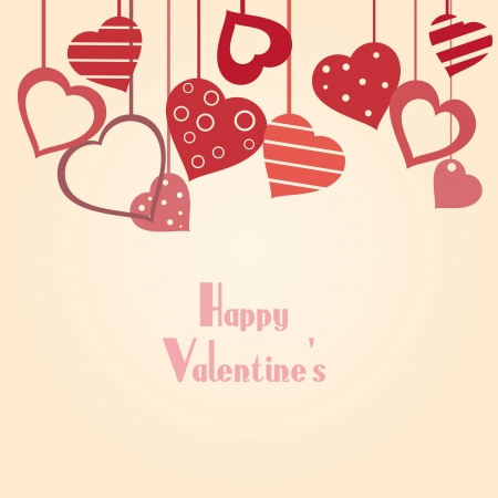 Vintage valentine's background with hearts Vector