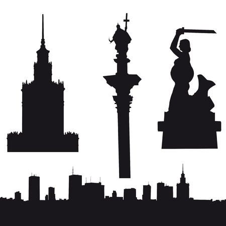 Silhouette of Warsaw in Poland- panorama, Palace of Culture and Since, Sigismund Vector