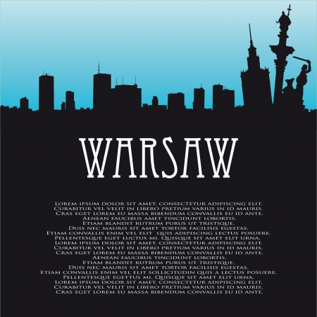 background with symbols of Warsaw and panorama Illustration