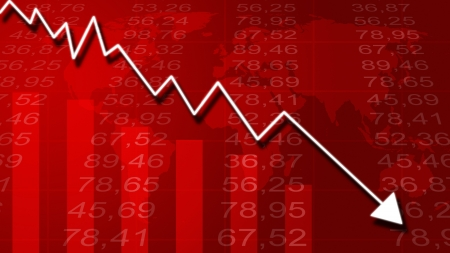 buy shares: Arrow graph going down and electronic stock numbers on a blue background  Stock Photo