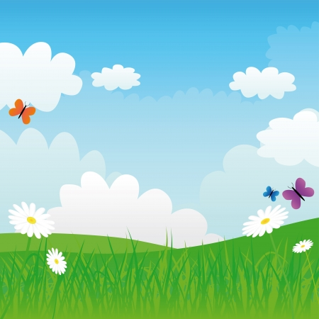 green meadow and blue sky, vector illustration Stock Vector - 16241950
