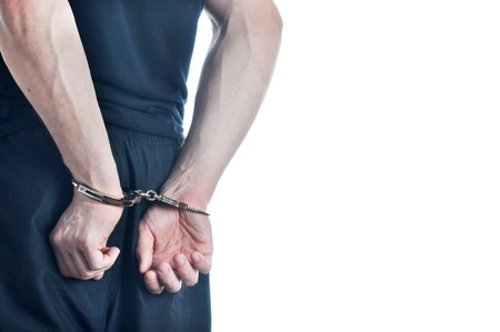 detenuti: Arrestati giovani uomini isolati su sfondo bianco Archivio Fotografico