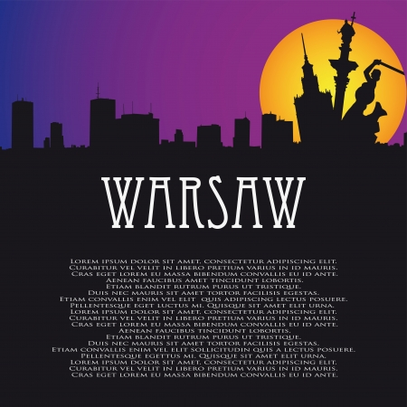 warsaw: background with symbols of Warsaw and panorama Illustration