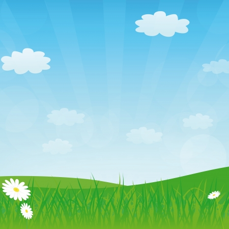 designe:  spring or summer background with meadow and blue sky