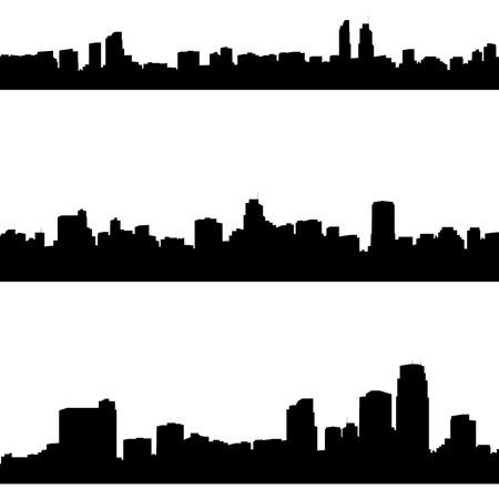 panoramas: silhouettes of abstract cities panoramas  Illustration