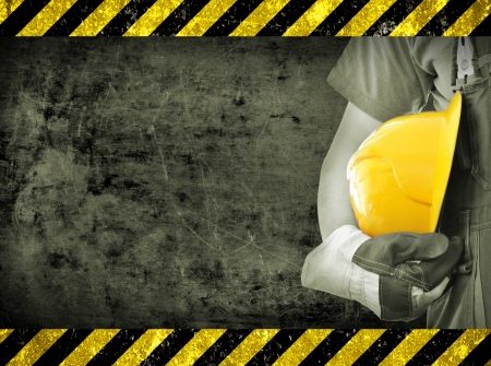 safety wear: Worker and grunge texture in background  Concept of OSH  occupational safety and health  Stock Photo