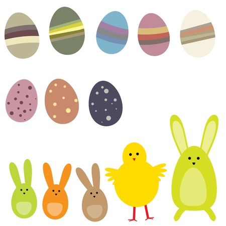 easter chick: Set of easter eggs and rabbit for your projects