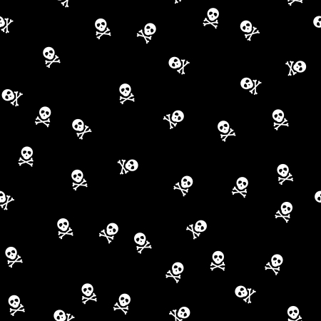 background with white skulls on back background, seamless  photo