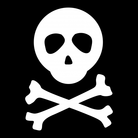 White skull and crossbones on black background  Vector  Vector