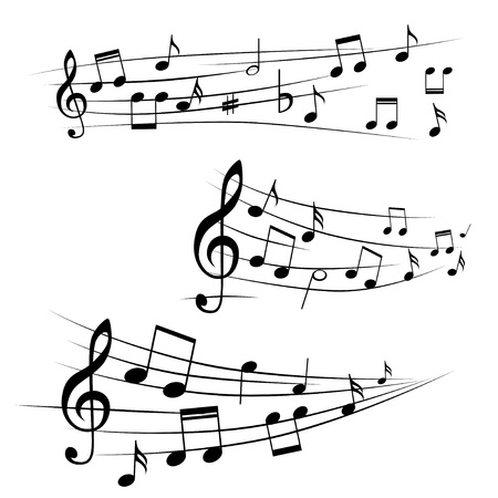 nota musical: Varias notas musicales en pentagrama, ilustración