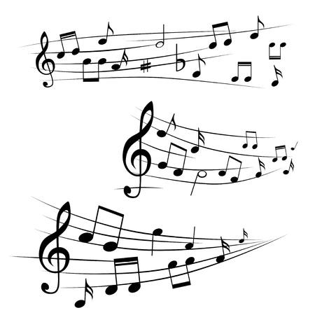quarter note: Various music notes on stave,  illustration Illustration