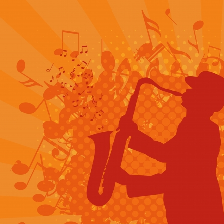 musical background with saxophonist  Grunge style  Vector