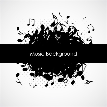 Abstract music background with notes,  illustration Vector