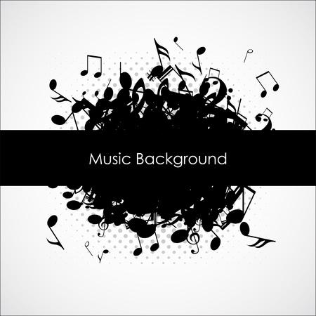 note musicali: Musica di sfondo astratto con note, illustrazione