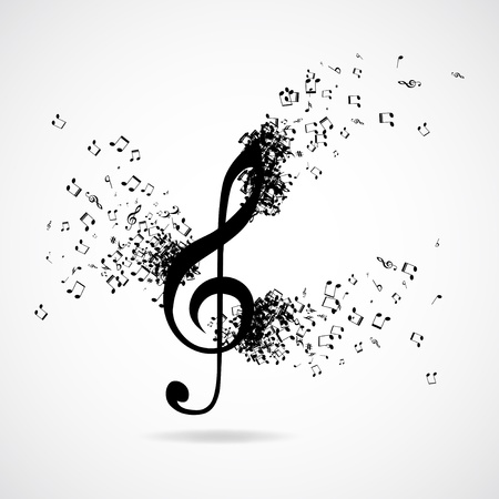 Treble clef with burst effect,  illustration