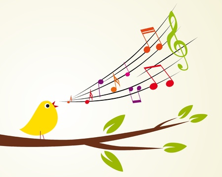 musical ornament: singing bird on a branch  Vector illustration