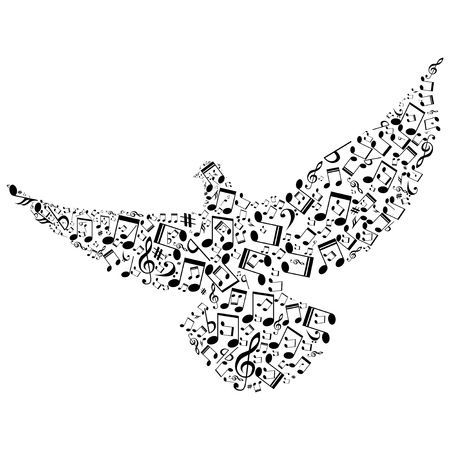 smaller: Bird with smaller musical notes isolated on white