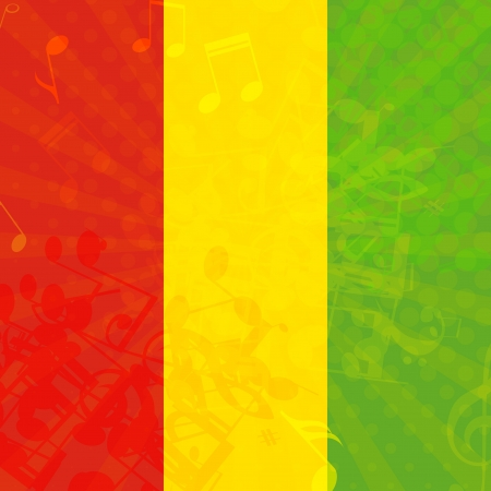 rasta: Music grunge background with flag of Ethiopia  Vector illustration