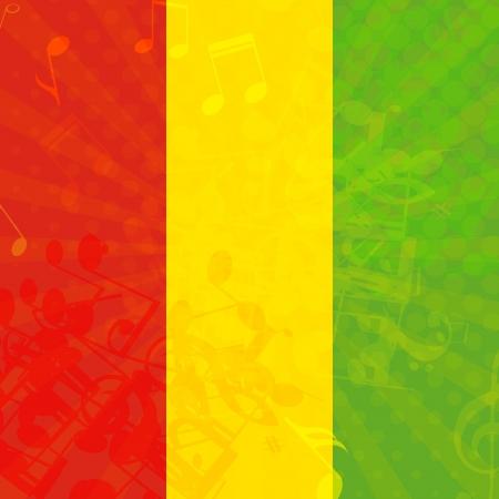 reggae: Music grunge background with flag of Ethiopia  Vector illustration