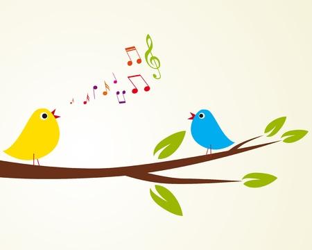 canary bird: singing bird on a branch  Vector illustration