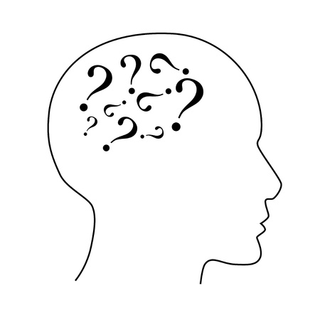 Contour of a face with a question marks  Stock Vector - 19353451