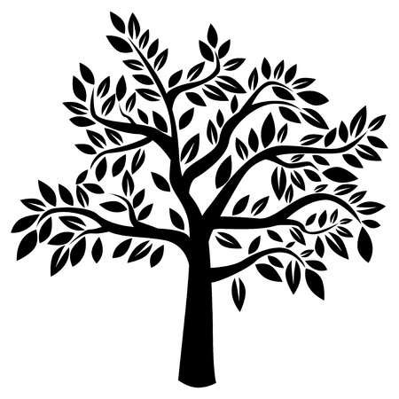 Silhouette of tree on white background  Vector illustration