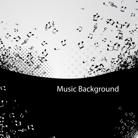 Abstract music background with notes, vector illustration Vector