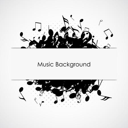 abstract music: Abstracte muziek achtergrond met notities, vector illustratie