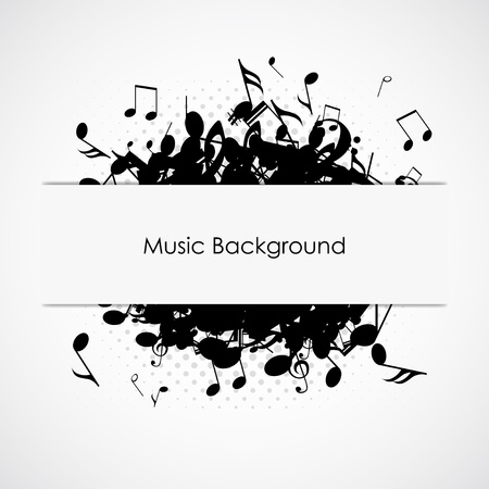 grunge music background: Resumen de m�sica de fondo con notas, ilustraci�n vectorial
