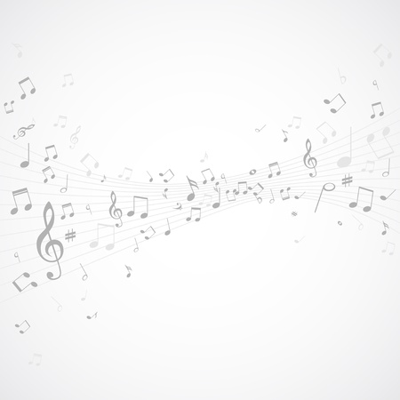 music notes vector: Various music notes on stave, vector illustration