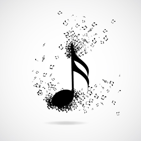 stave: Music note with burst effect, vector illustration