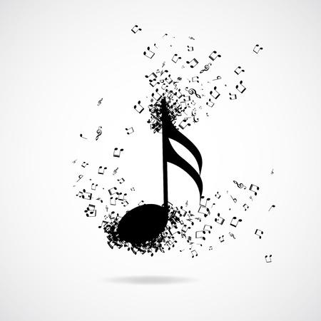 clef de fa: note de musique avec effet d'�clatement, illustration