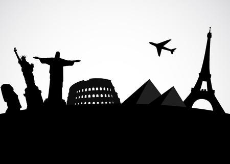 Ilustración de la famosa Vector fondo del mundo turístico monumento