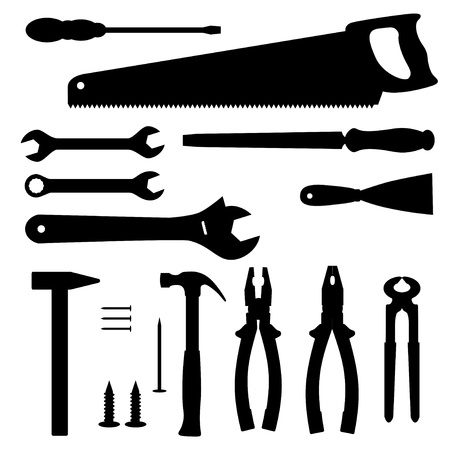 Tools silhouettes collection illustration Vector