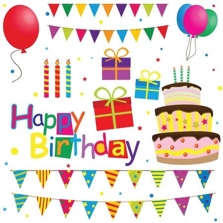cartoon birthday cake: Set of vector birthday party elements  Illustration