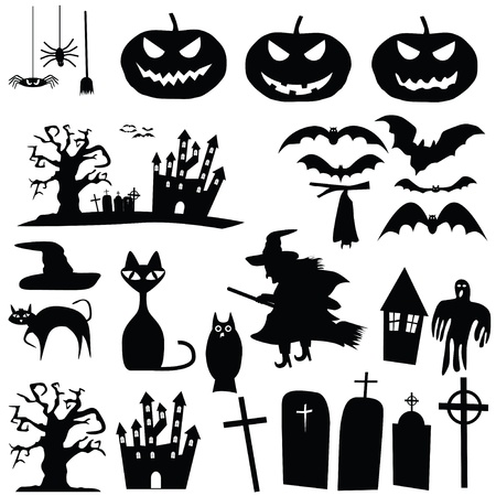 castle silhouette: collection of halloween silhouettes