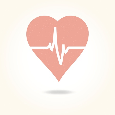 beats: Vector medical background with heart and cardiogram