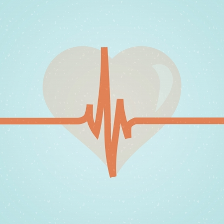 pulsating: Vector medical background with heart and cardiogram