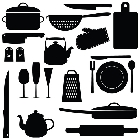 rolling pin: Set of kitchen tools, vector illustration