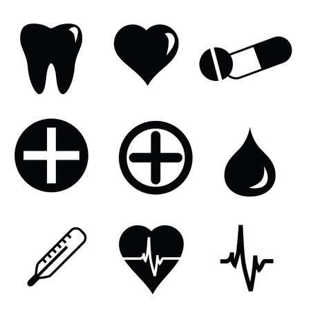 Set of vector medical icons isolated on white background Vector