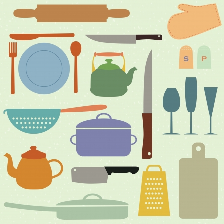Set of kitchen tools, vector illustration Vector