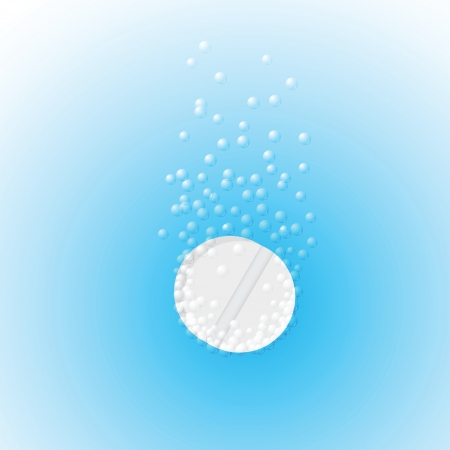 Effervescent tablet in water with bubbles on a blue background  Vector illustration Vector