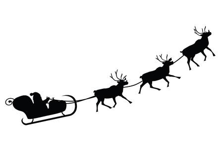 papa noel en trineo: Papá Noel que conduce en una ilustración vectorial de trineo