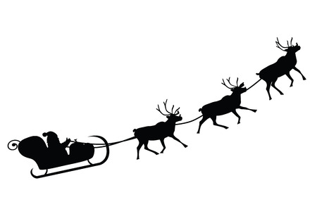 Santa Claus driving in a sledge  Vector illustration  Çizim