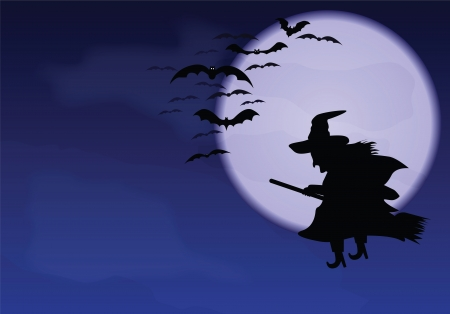halloween background: A flying witch and bats on a background of the moon