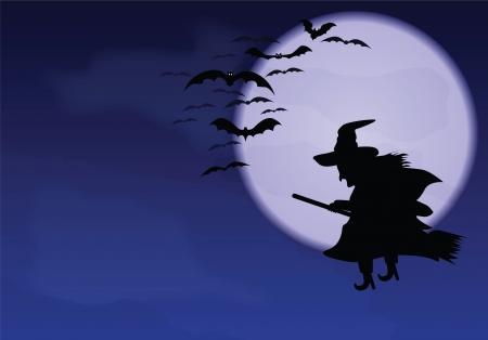 Un vuelo de la bruja y murci�lagos sobre un fondo de la luna