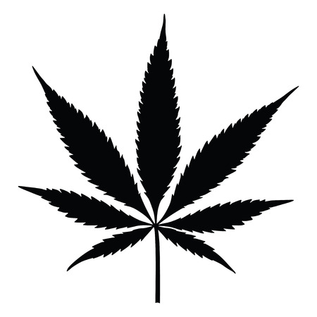 Vector cannabis leaf silhouette on white background  Marijuana  向量圖像
