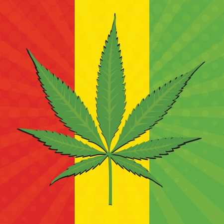 thc: Vector cannabis leaf and flag of Ethiopia in background Illustration