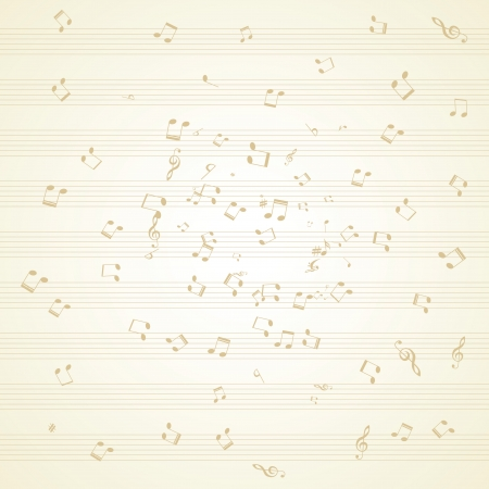 alt: Various music notes on stave, vector illustration